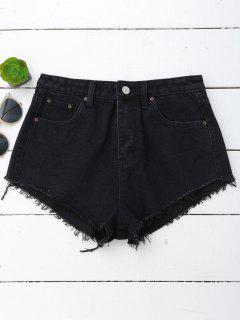 Denim Cutoffs Mini Shorts - Black S