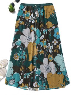 Button Up Floral A-Line Skirt - Floral S