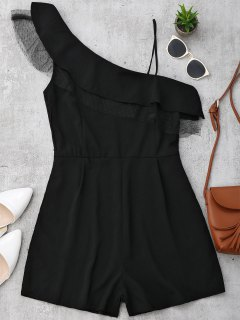 Ruffles Mesh Panel One Straps Romper - Black M