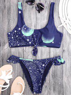 Knotted Ruffles Sky Star Print Bikini - Deep Blue M