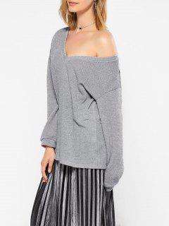 Long Sleeve V Neck Jumper - Gray M
