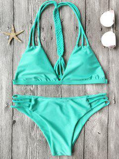 Macrame T Back Strappy Bikini Set - Turquoise L