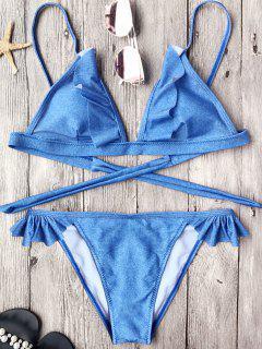 Soft Pad Frilly String Bikini Set - Blue L