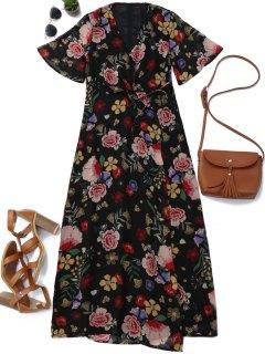 Floral Wrap A Line Maxi Dress - Floral S