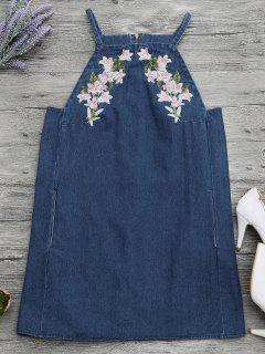Floral Embroidered Pinafore Denim Dress - Denim Blue S