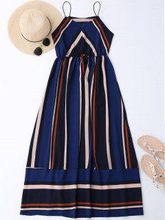 Maxi Holiday Sundress With Stripes - Blue Xl