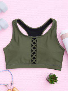 Padded Racerback Lace Up Sporty Bra - Army Green S