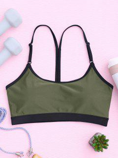 Padded Y Back Strappy Sporty Bra - Army Green L