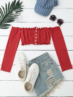 Button Up Off Shoulder Cropped Top - Red