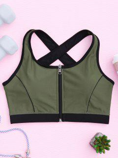 Cross Back Zipper Padded Sporty Bra - Army Green S