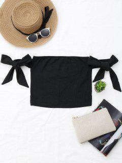 Bowknot Ribbed Tube Top - Black S
