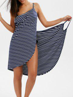 Striped Open Back Multiway Wrap Cover-ups Dress - Deep Blue 2xl