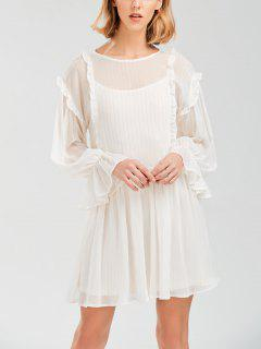 Sheer Flare Sleeve Dress With Golden Thread - White S