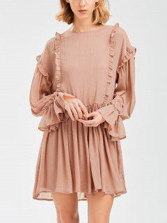 Sheer Flare Sleeve Dress With Golden Thread - Nude Pink S