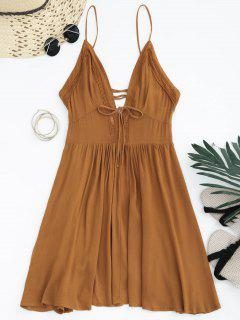 Plunge Low Back Lace Up Sundress - Light Brown S