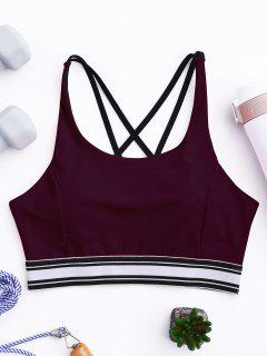 Padded Cross Back Striped Sporty Bra - Burgundy L