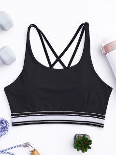 Padded Cross Back Striped Sporty Bra - Black M
