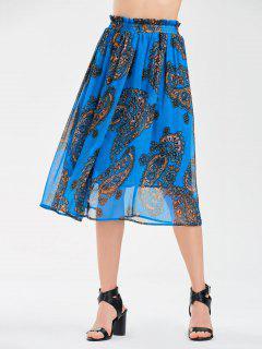 Elastic Waist Chiffon Print Skirt - Blue L