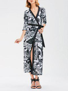 Bohemian Wrap Maxi Dress With Chinese Painting - S