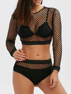 Fishnet Long Sleeve Crop Top And Briefs - Black M