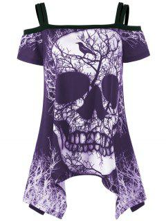 Open Shoulder Skull Handkerchief T-shirt - Purple L