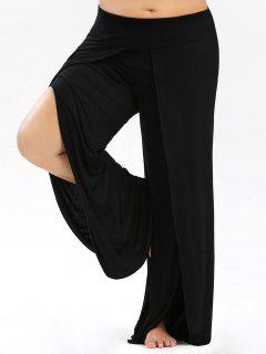 Plus Size Palazzo Pants With High Split - Black Xl