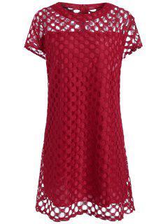Robe Trapèze Courte à Claire-Voie Grande Taille - Rouge Foncé 2xl