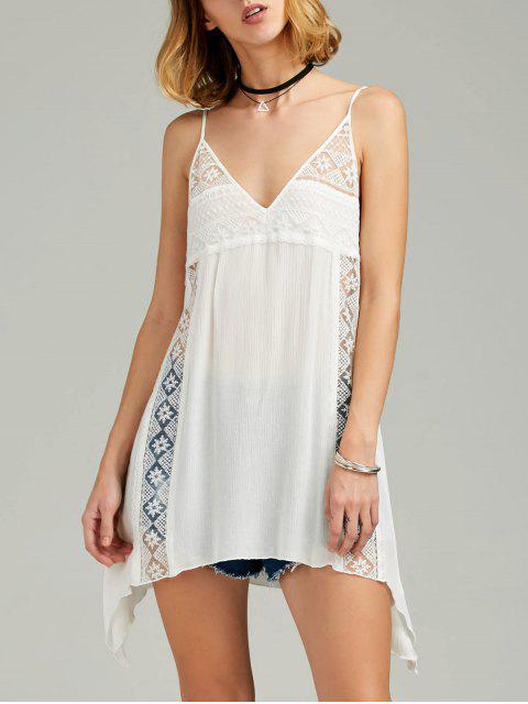 Vestido Trasparente de Sol de Pañuelo de Tirantes Finos con Encaje Escotado - Blanco XL Mobile