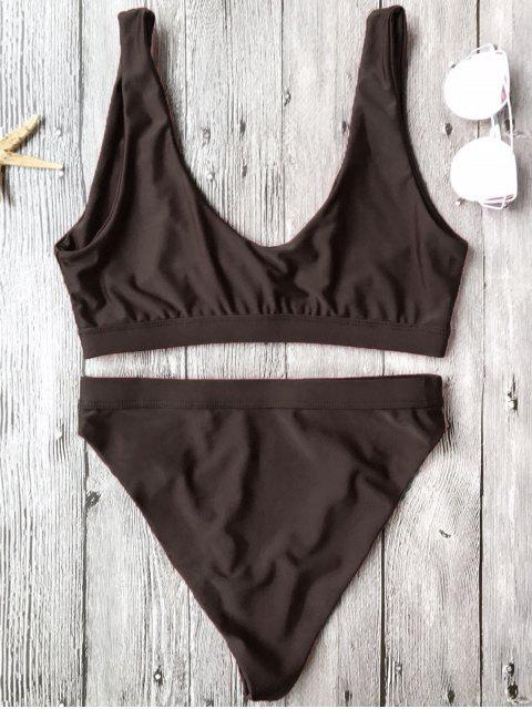 trendy High Cut Scoop Front Bikini Set - COFFEE S Mobile