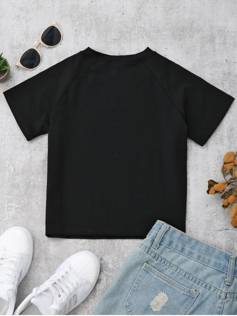 new Fitted Cotton Letter T-Shirt - BLACK S Mobile