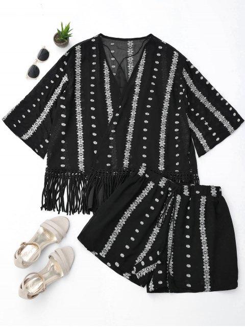 Chemisier à manches courtes à manches courtes et shorts - Noir L Mobile
