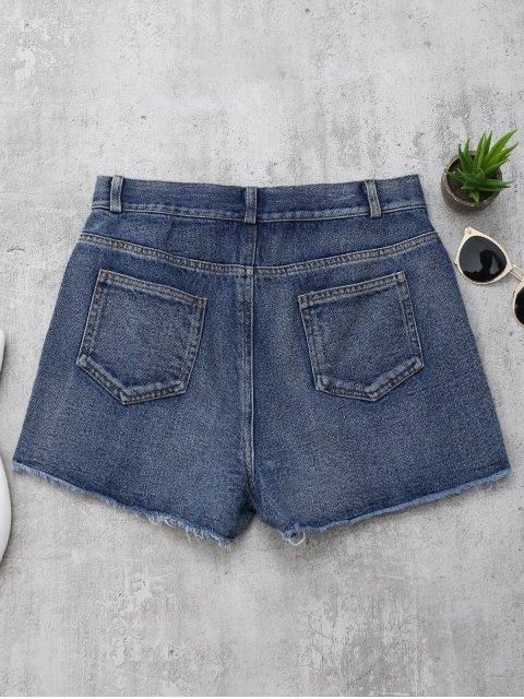 shops Cutoffs Rose Embroidered Denim Shorts - DENIM BLUE L Mobile