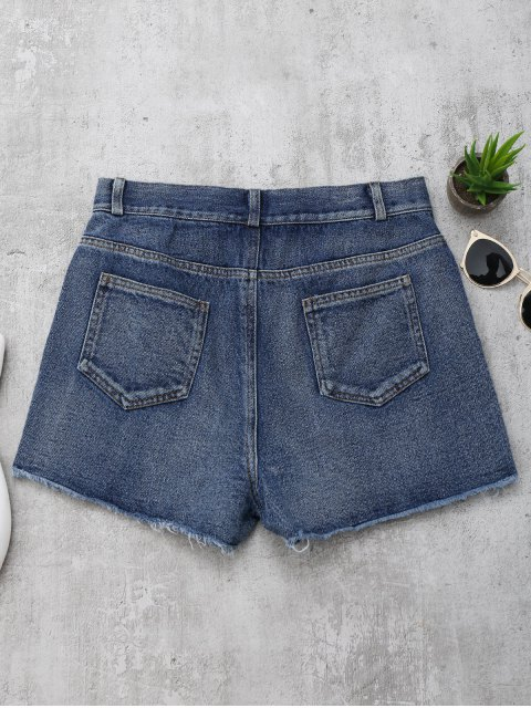 Shorts denim brodés rose - Denim Bleu M Mobile