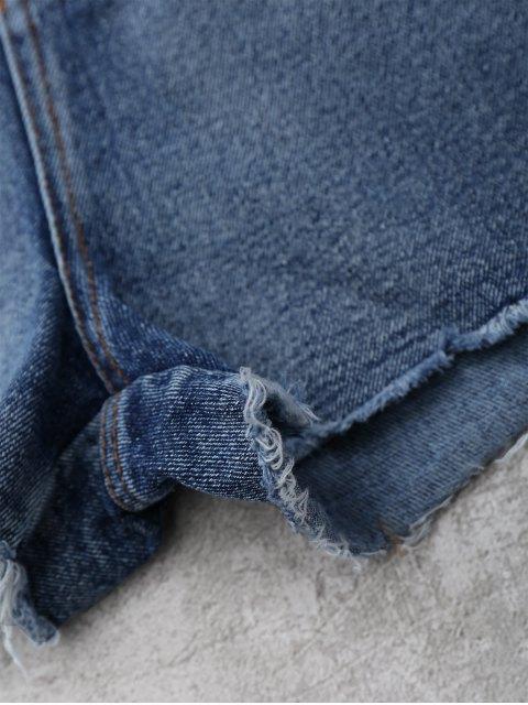 trendy Cutoffs Rose Embroidered Denim Shorts - DENIM BLUE S Mobile