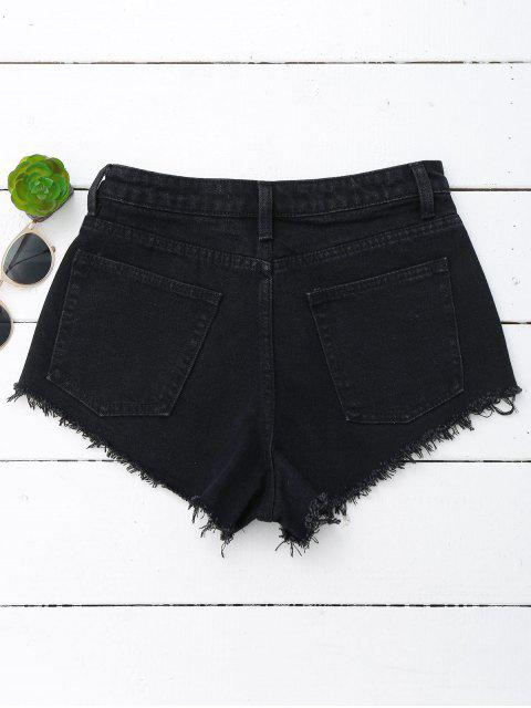 fancy Denim Cutoffs Mini Shorts - BLACK S Mobile