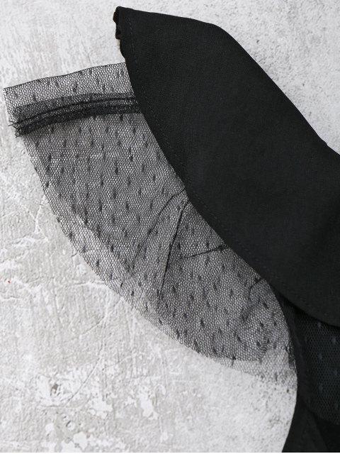 Ruffles Mesh Panel One Straps Romper - Noir M Mobile