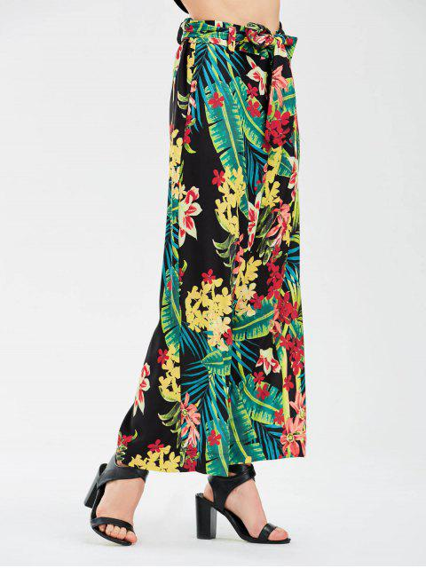 unique Floral Wide Leg Pants With Tie Belt - FLORAL S Mobile