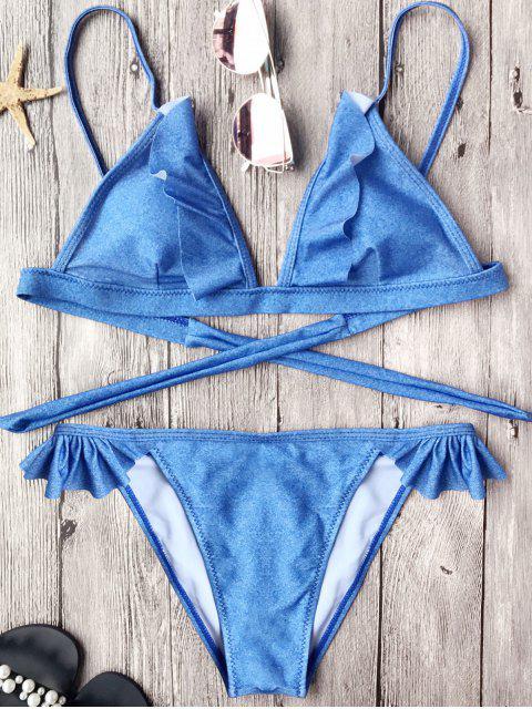 Conjunto de bikini con cordones de gelatina - Azul S Mobile