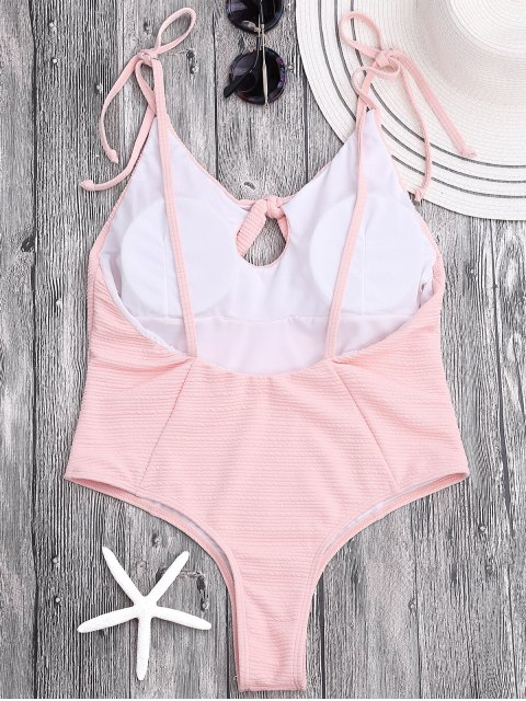 shop Tied High Cut Ribbed Thong Swimsuit - SHALLOW PINK M Mobile