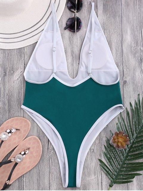 High Cut Piping Plunging Neck Swimwear - Bleu Vert M Mobile