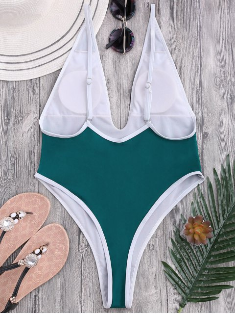 fashion High Cut Piping Plunging Neck Swimwear - BLUE GREEN S Mobile