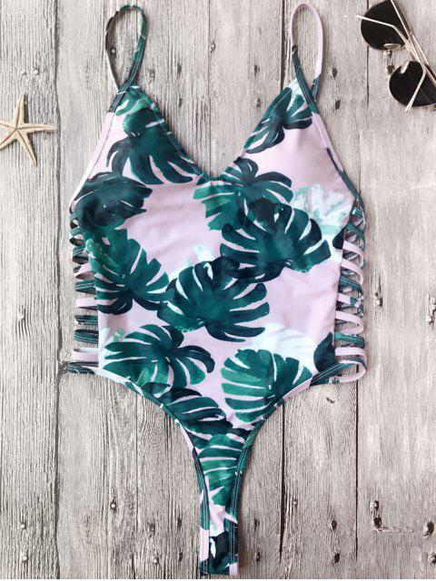 chic Banana Leaf High Leg One Piece Swimsuit - PINK L Mobile