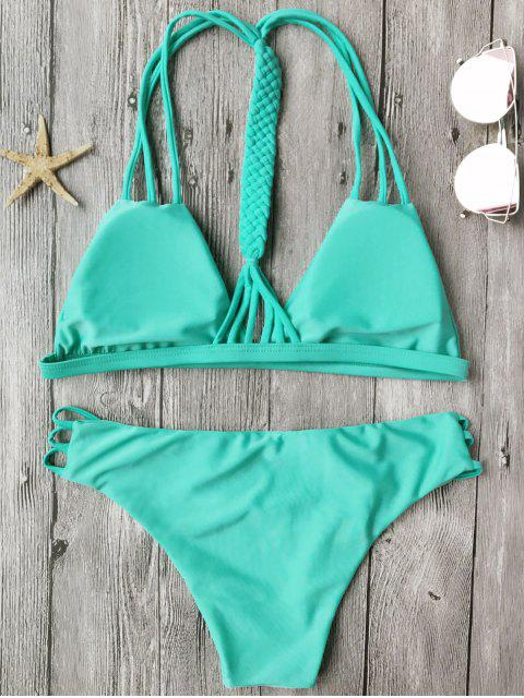 buy Macrame T Back Strappy Bikini Set - TURQUOISE S Mobile