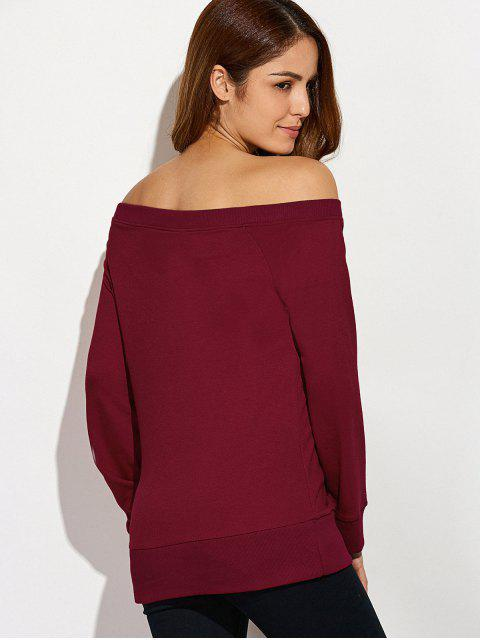 trendy Reindeer Snowflake Christmas Sweatshirt - WINE RED XL Mobile