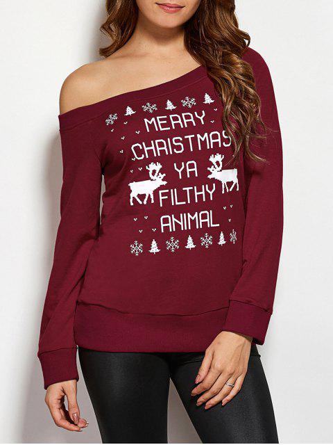 Sweatshirt style de Noël imprimé renne et flacon de neige - Rouge vineux  S Mobile