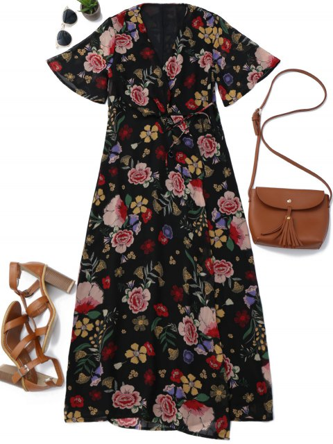 lady Floral Wrap A Line Maxi Dress - FLORAL S Mobile