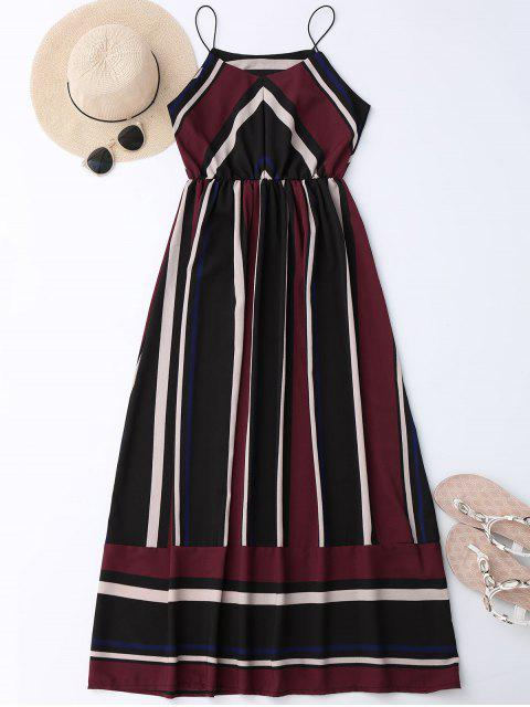sale Maxi Holiday Sundress With Stripes - WINE RED XL Mobile