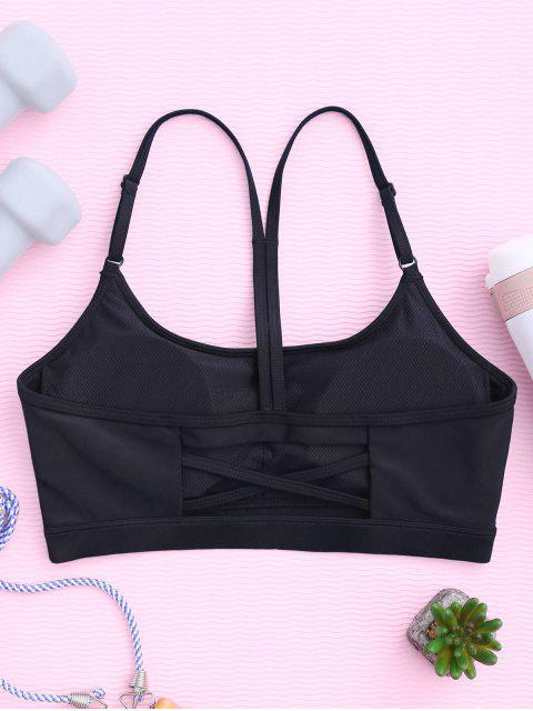 hot Padded Y Back Strappy Sporty Bra - BLACK M Mobile