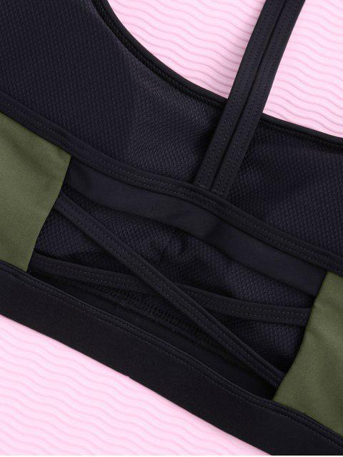 shops Padded Y Back Strappy Sporty Bra - ARMY GREEN S Mobile