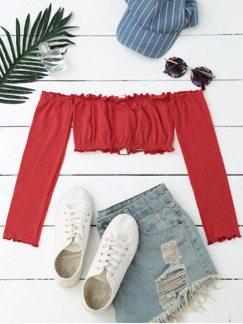 sale Button Up Off Shoulder Cropped Top - RED ONE SIZE Mobile